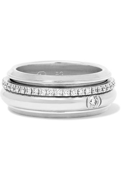 DIAMONDS ARE FOREVER: Piaget's ring is studded with 0.45-carats of pavé diamonds on a unique rotating band that moves smoothly and seamlessly – as it turns it gives the wearer freedom to take possession of her life. It's lovingly handmade from 18-karat white gold and looks chic stacked with other slim styles.