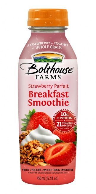 Parfait Breakfast Smoothies from Bolthouse Farms. Infuse with fresh strawberries, blueberries, granola and yogurt, then mix in your blender bottle for a wonderful healthy treat. Also works well with the Strawberry Banana flavor.