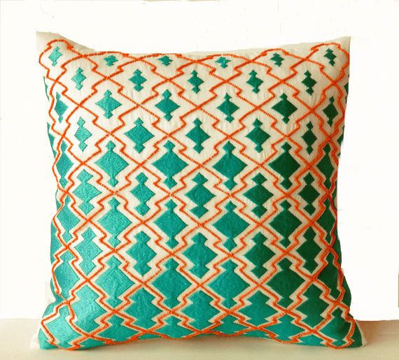 Throw Pillows Teal Orange Decorative Pillowcase in by AmoreBeaute