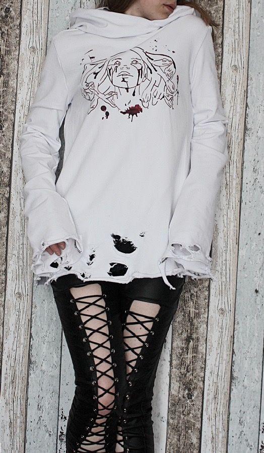Image of Ladies' Ripped Bloody Harlot Tunic/Hoodie