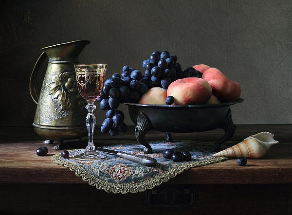 Still life with a jug, fruit and a shell.