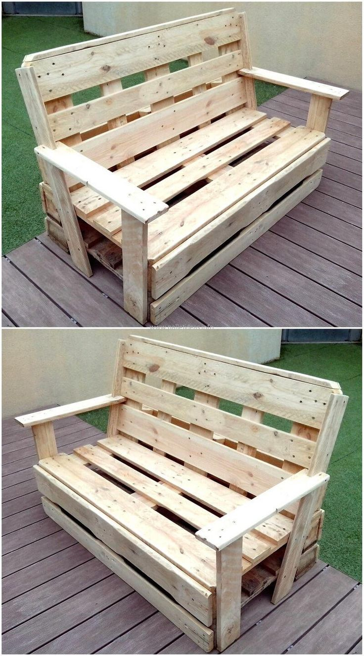 Now come to the bench project for the outdoor, this is easy to create and is not expensive because the pallets are not painted and the money for the paint is saved as well as the amount needed to pay to the furniture store for this type of seating arrangement.