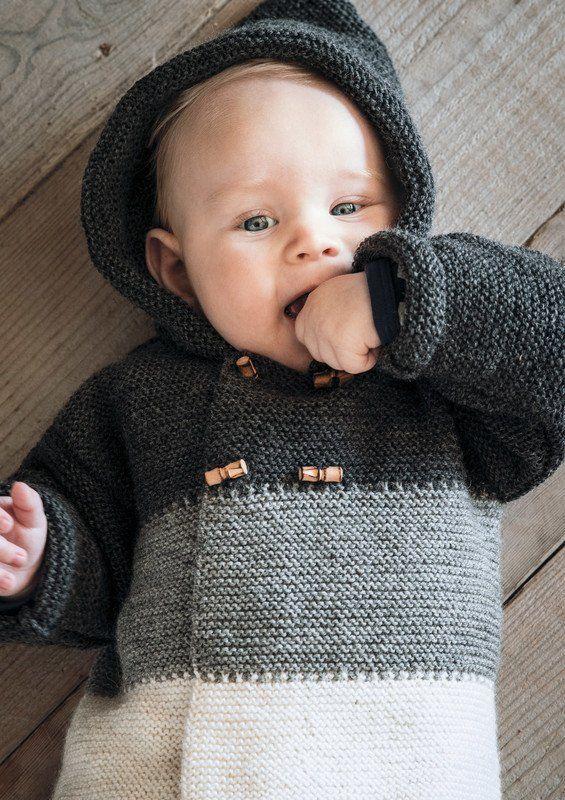 Mayflower strikkeopskrift - moderne baby hættetrøje