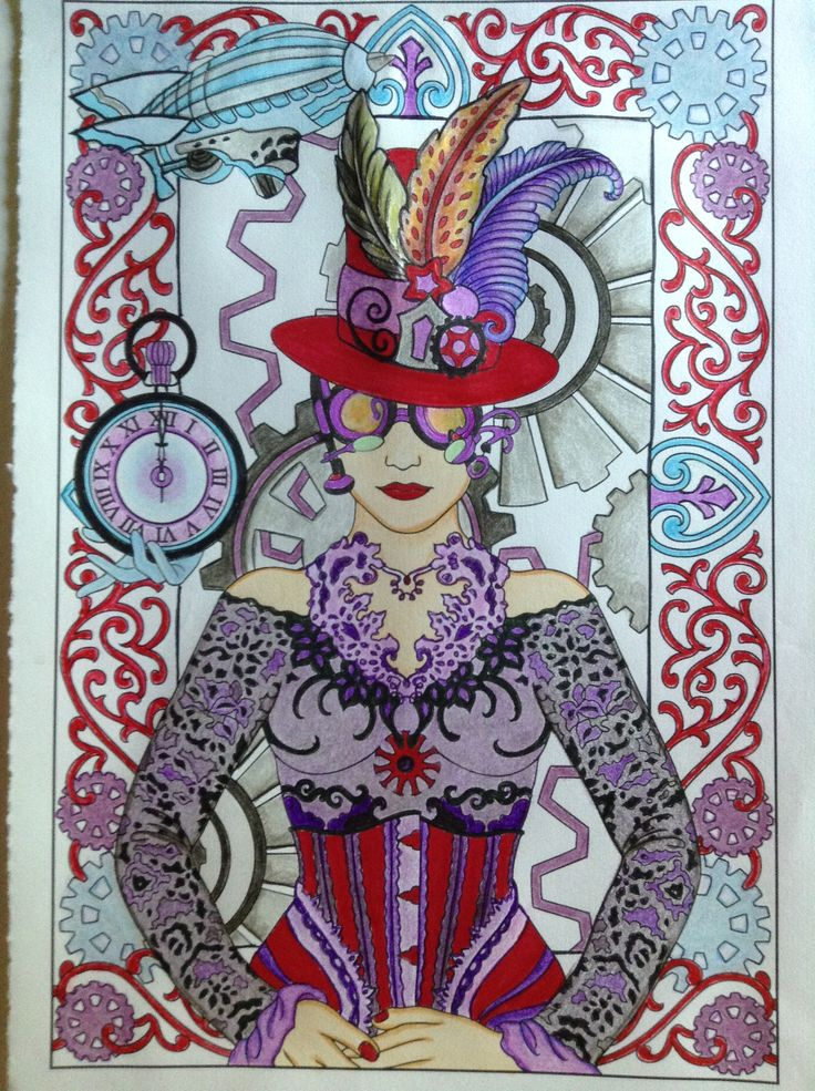 Done By Janice Maybee Steampunk Designs 1 Adult ColoringColoring BooksSteampunk