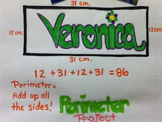 Perimeter...students were given graph paper and told to decorate their name like graffiti. Then they boxed around it and found the perimeter by adding the units on each side.