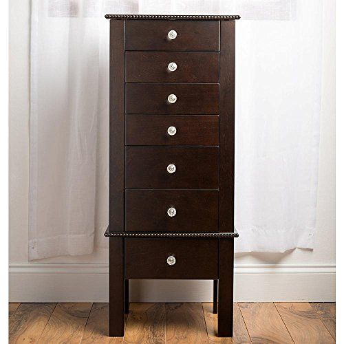 Top compartment opens to reveal Mirror and divided felt lined storage Hand crafted and Artisan finished product Modern and feminine Jewelry armoire in Dark Espresso with 7 Drawers