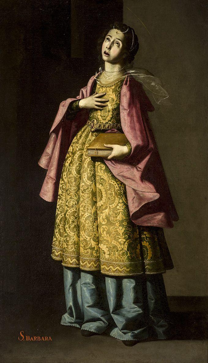 """""""Santa Barbara"""" (1640-1650).   Francisco de Zurbaran (1598–1664). Oil on canvas.  Museo de Bellas Artes de Sevilla, Spain."""