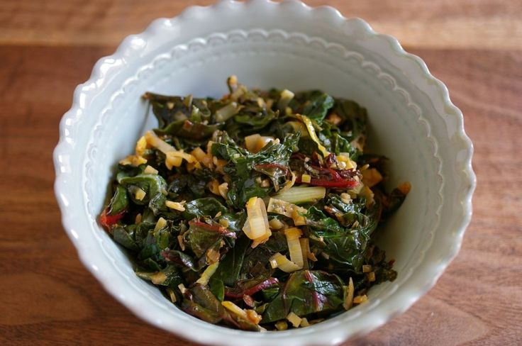 Swiss chard with braised leeks and garlic - use with omelets in am