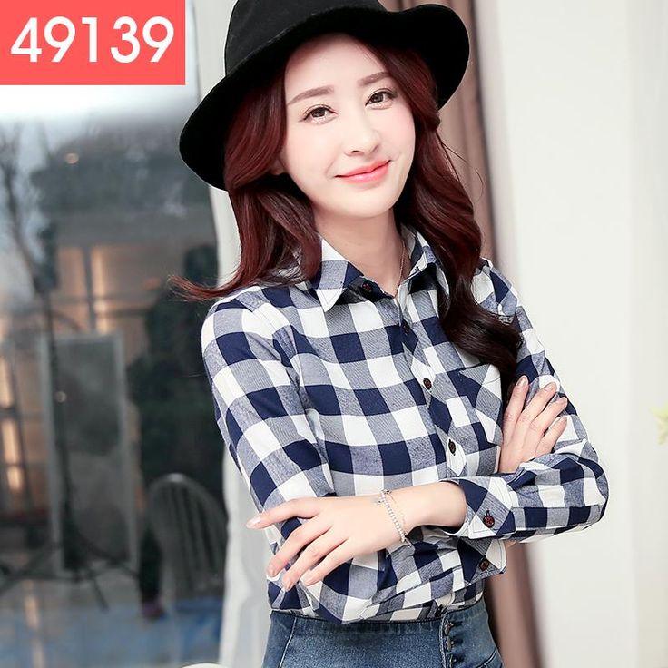 Aliexpress.com: Comprar 2015 nueva moda 22 colores de la muchacha camisa de franela a cuadros de manga larga para mujer camisa a cuadros para mujer de gran tamaño de la mujer Tops de camisa equipada fiable proveedores en 1688buy