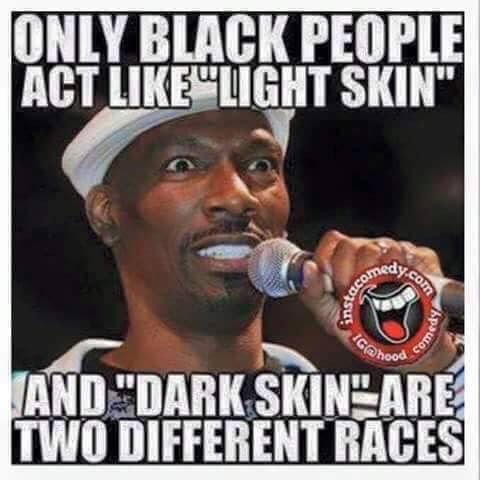 """Only Black People act like """"lightskin"""" and """"Darkskin"""" are two different races"""