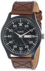 August Steiner Men's AS8074BK Quartz Black Dial Brown Leather Strap Watch