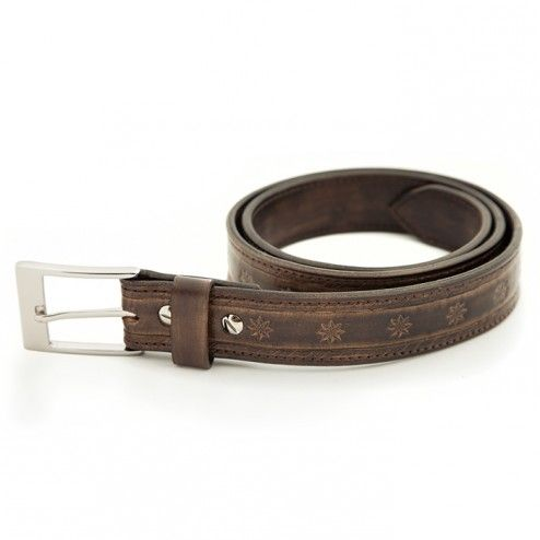 Brown Leather Belt-Unique handmade double top grain belt made of veg. tanned leather. It is hand tooled and available in bison brown.