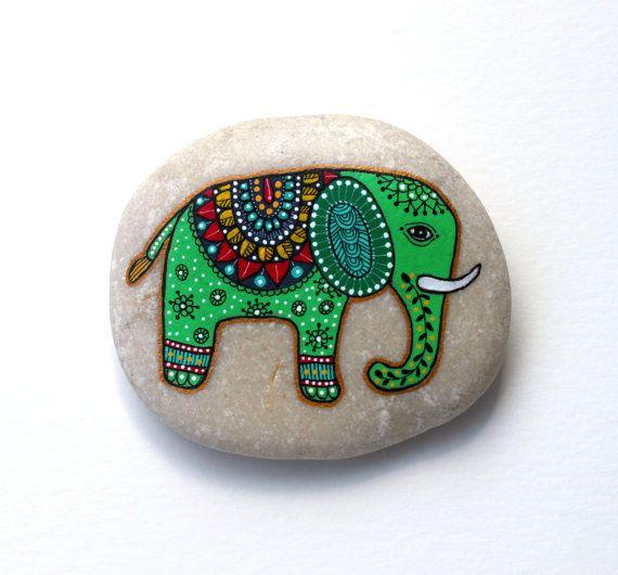 Hand Painted Stone Elephant