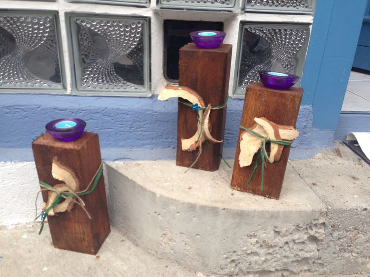 Holzbalken lasiert und dekoriert gartendeko pinterest for Gartendeko holzbalken