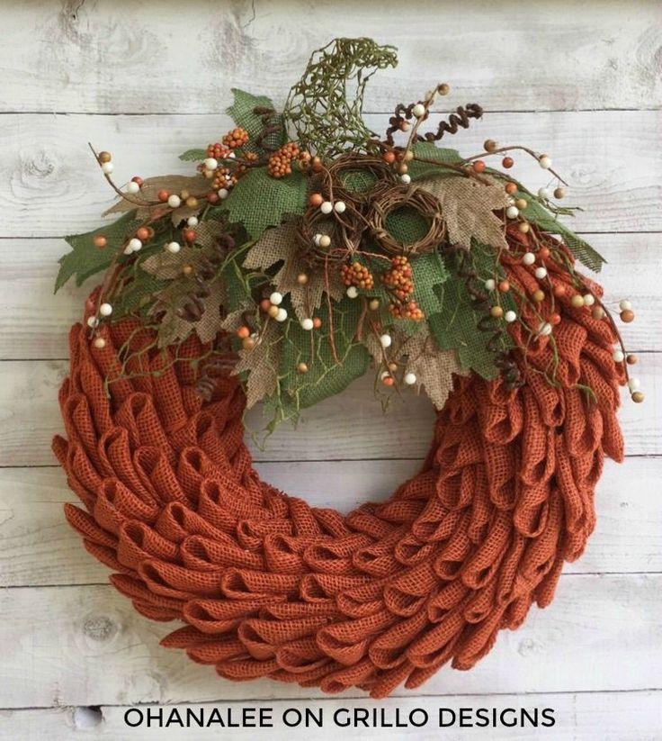 DIY burlap pumpkin wreath tutorial using orange burlap / Grillo Designs www.grillo-designs.com