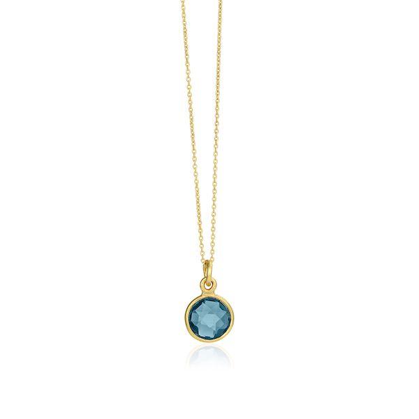 Halskæde i forgyldt sterling sølv med London blå krystal  Længde: 45 cm    Susanne Friis Bjørner