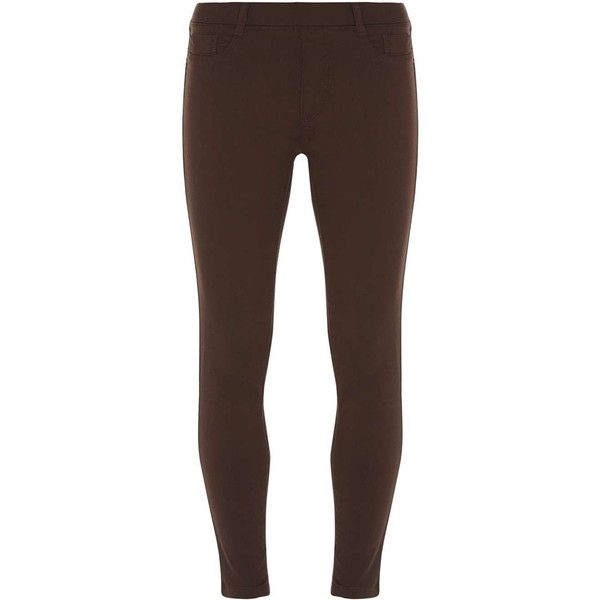 Dorothy Perkins Petite chocolate 'Eden' jeggings ($21) ❤ liked on Polyvore featuring pants, leggings, bottoms, brown, petite, petite leggings, denim leggings, jean leggings, petite jean leggings and chocolate brown pants