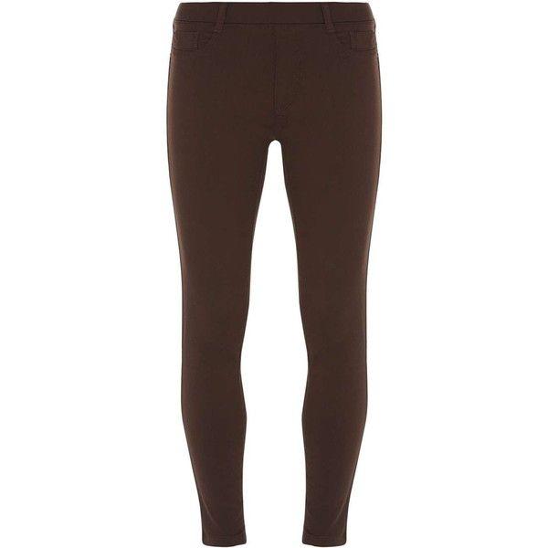 Dorothy Perkins Petite chocolate 'Eden' jeggings ($35) ❤ liked on Polyvore featuring pants, leggings, brown, petite, chocolate brown jeggings, petite trousers, chocolate brown leggings, cotton pants and petite leggings