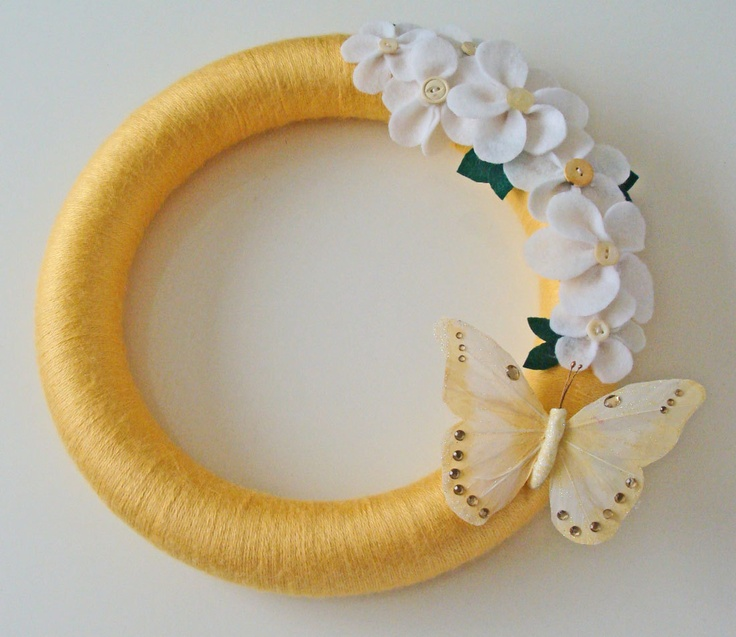 Spring Wreath. Summer Wreath. Felt and Yarn Wreath. Flowers and Butterfly. $30.00, via Etsy.