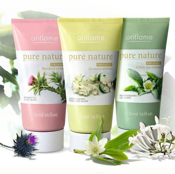 Máscara Purificante, Máscara Esfoliante, Máscara Hidratante- Gama Pure Nature- ORIFLAME