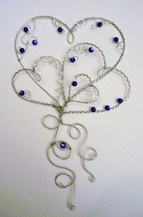Purple hearts hanging wire and bead design by DesignByMeg on Etsy, $22.00