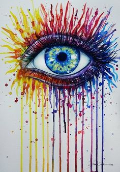 """Melted Crayon Eye - trippy! Might be way too difficult for a """"DIY"""" (atleast it is for me!) but just had to pin this!"""