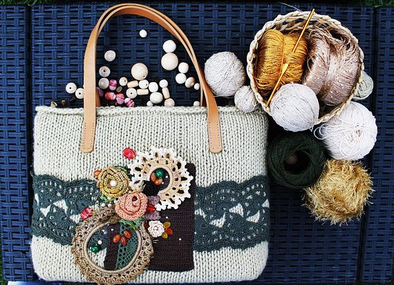 Leather Handles Large Tote Handbag Free-form Crochet Knitted