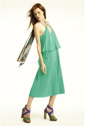 NEW BCBG MAX AZRIA RUNWAY COLOR BLOCK    Retro-inspired yet fresh, this jumpsuit is a welcome way to punch up your everyday look.  V-neck. Sleeveless. Oversized fit.  Twisted-rope straps with knot detail at front. Tiered top. Wide leg. Draped scarf at back.  Measures approximately 14' at inseam.  ...
