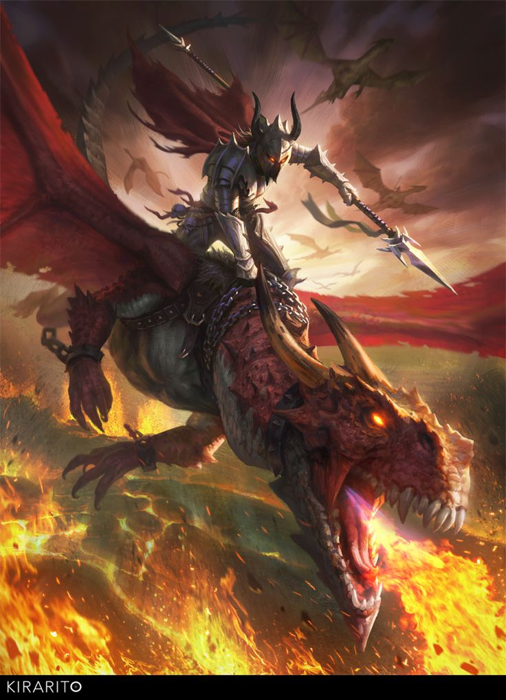 Dragon rider by Samarskiy litch skeleton demon devil platemail spear fire monster beast creature animal | Create your own roleplaying game material w/ RPG Bard: www.rpgbard.com | Writing inspiration for Dungeons and Dragons DND D&D Pathfinder PFRPG Warhammer 40k Star Wars Shadowrun Call of Cthulhu Lord of the Rings LoTR + d20 fantasy science fiction scifi horror design | Not Trusty Sword art: click artwork for source