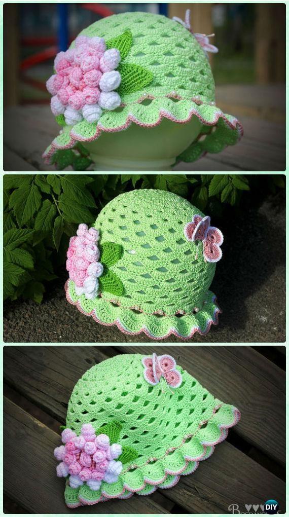 Crochet Shell Stitch Spring Summer Hat Free Pattern with Video - Crochet Girls Sun Hat Free Patterns #diysunhatfun