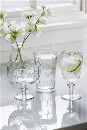 Buy Heart Moulded Glass Tumblers Set Of 4 from the Next UK online shop