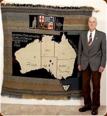 Knitted rug from WWII Prisoner of War