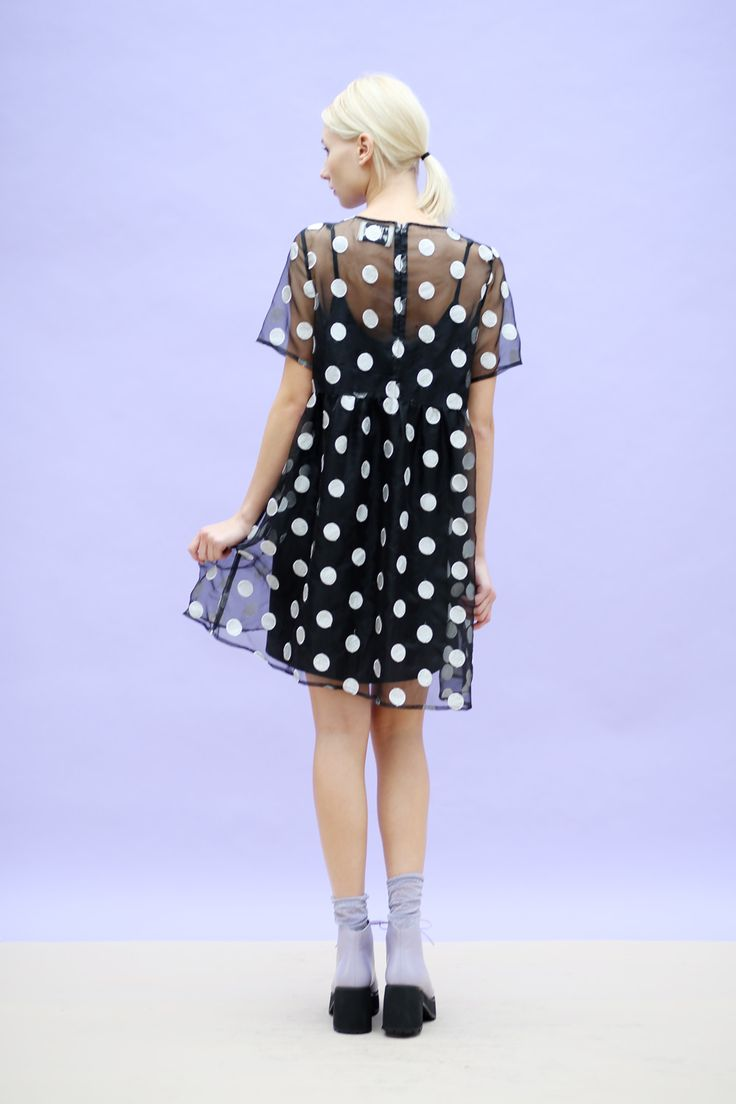 Organza Embroidered Polka Smock Dress Black www.thewhitepepper.com/collections/dresses/products/organza-embroidered-polka-smock-dress-black