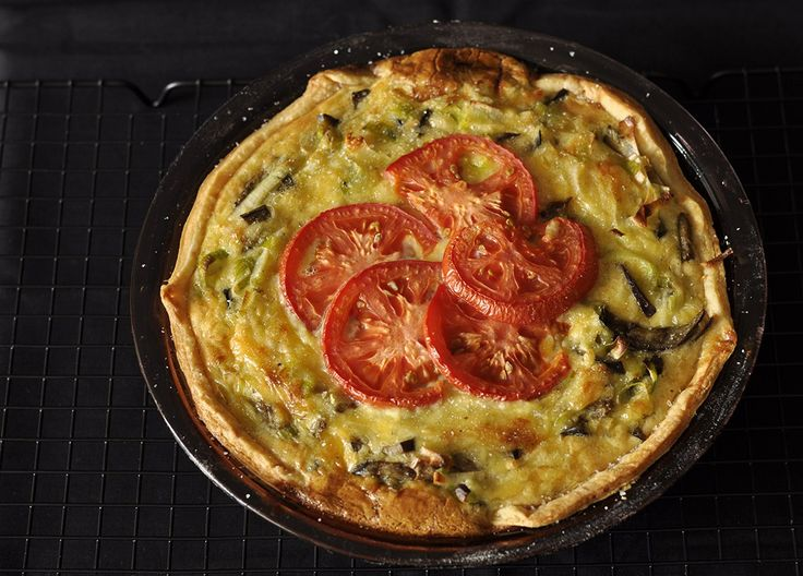 Leek, eggplant and tomato Tart