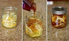 """Jarabe+para+la+Tos En un recipiente de vidrio, combinar las rodajas de limón, miel de abejas y el jengibre en rodajas. Cerrar el recipiente y colocarlo en la nevera, (se forma en una """"gelatina""""). Para servir: una cucharadita en una taza y vierte agua hirviendo sobre ella. Conservar en nevera 2-3 meses."""