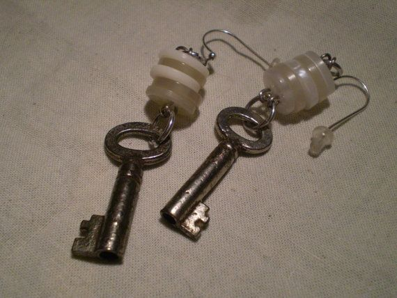 Vintage Key & Button Repurposed Earrings by etceterahandcrafted $22.00