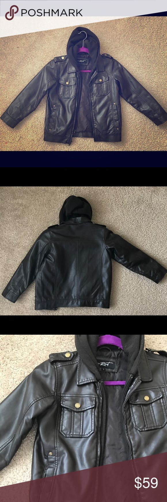 Boys Leather Jacket Good condition. Breast and side pockets. Snap shoulder. Hooded bib zips out. Lined. Very nice. Purchased at Nordstroms $120 Black Rivet Jackets & Coats
