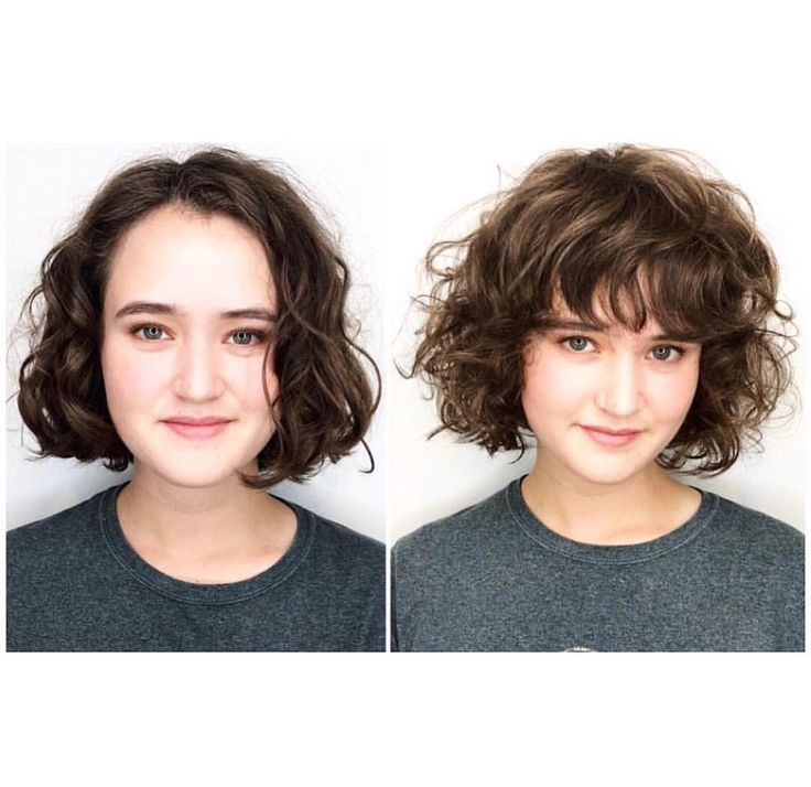 Full fringe with curly bob. Looks so fresh and so cool on her. ( I saw this in person and almost fell over) ❤️ Hair by our stylist and…