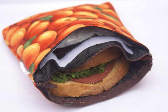 Insulated & Zippered Reusable Sandwich Bag with Separate Pocket for Included Cool Pack