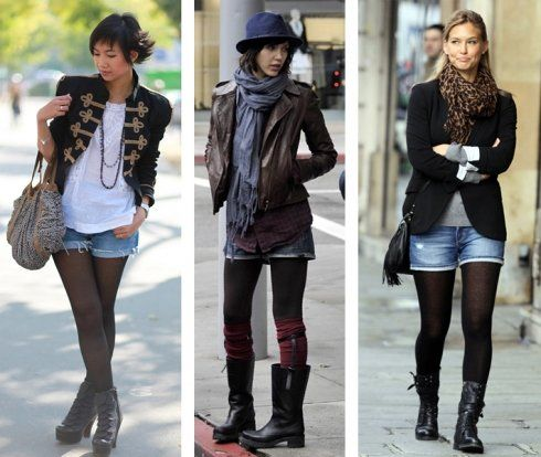 black hose or leggings under jean shorts. i'm a fan. i'm a fan of all these outfits actually.