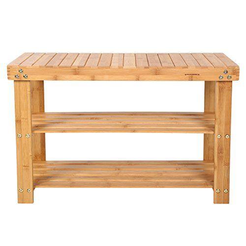 songmics 2 tier natural bamboo shoe rack bench storage organiser holder 70 x 28 x