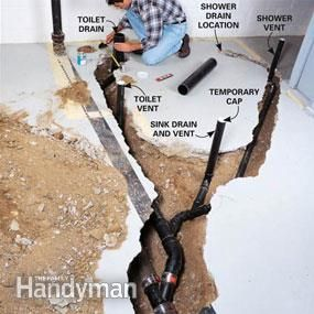 A bathroom in the basement adds a lot of value to a finished basement. Here's how to plumb the bathroom yourself and save at least $1,000 on plumbing costs.