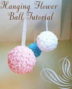 DIY Tutorial DIY Crepe Paper Flowers / DIY Hanging Roses Flower Ball - Bead&Cord