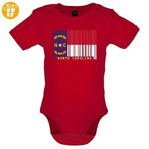North Carolina / Nord-Carolina Barcode Flagge - Lustiger Baby-Body - Rot - 6 bis 12 Monate (*Partner-Link)