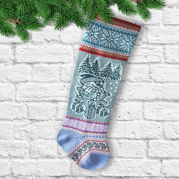 Knit Christmas Stocking Decorations Knit Christmas Sock Snowman ChristmasTrees Snowflake Gifts   Christmas Stockings for the Family