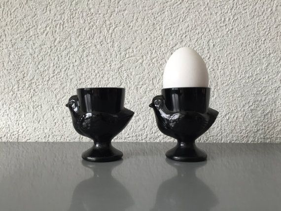 2 Vintage French Black Glass Chicken Hen Egg Cups