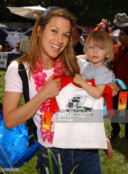 "Brooke Langton and son at Fooey during 'Silver Spoon Dog and Baby Buffet"" Benefitting Much Love Animal Rescue - Day One at Private Residence in Beverly Hills, California, United States. (Photo by Jean-Paul Aussenard/WireImage for Silver Spoon (formerly The Cabana))"