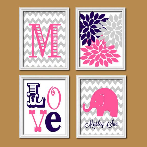 Monogram Child Name Pink Navy Grey Elephant Chevron Flower LOVE Child Nursery Print Artwork Set of 4 Prints Girl Wall Decor Art Picture via Etsy