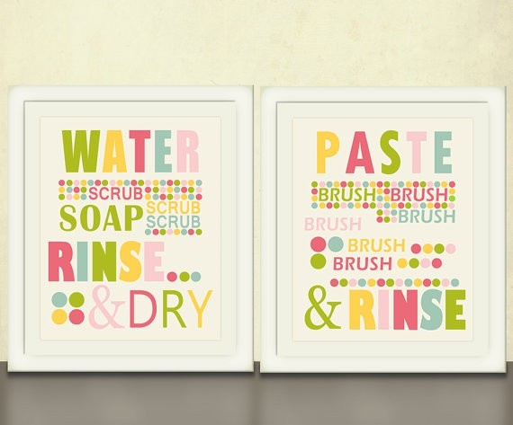 Kids Bathroom Art, Wash Your Hands, Brush Your Teeth