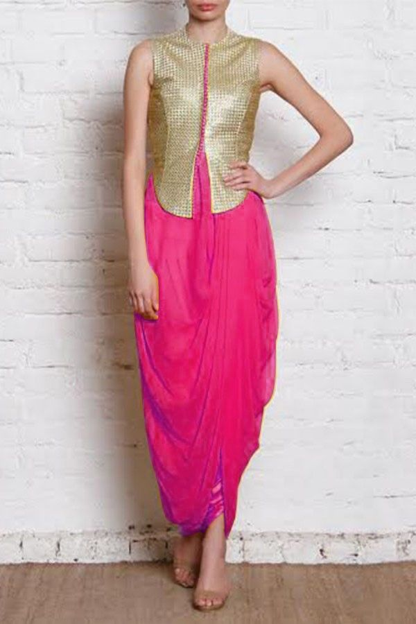Street Style Store Pink Solid Sleeveless Salwar Suit With Golden Jacket…